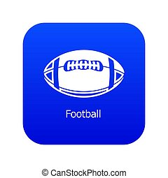 Rugby ball icon blue