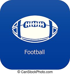 Rugby ball icon blue vector