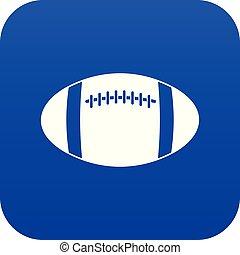 Rugby ball icon digital blue