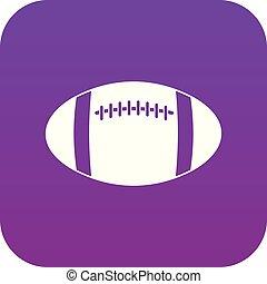 Rugby ball icon digital purple