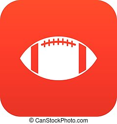 Rugby ball icon digital red