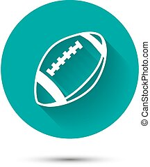 Rugby ball icon on green background with shadow