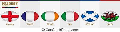 Rugby ball icon with flag of England, France, Ireland, Italy, Scotland and Wales.