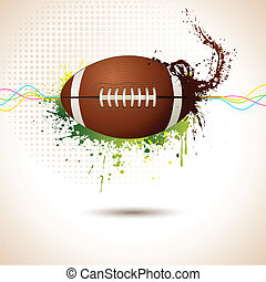 Rugby Ball - illustration of rugby ball on abstract grungy...