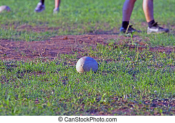 Rugby ball in the middle of a rugby field