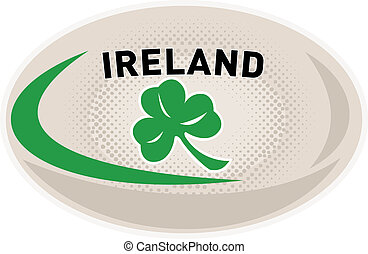 Rugby Ball Ireland Shamrock - illustration of a rugby ball...