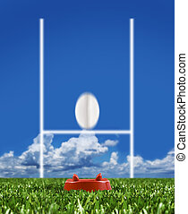 Rugby ball kicked to the posts showing movement - Rugby ball...