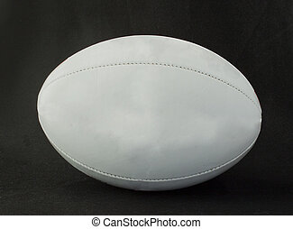 Rugby ball - Lateral view of a lite gray rugby ball over ...