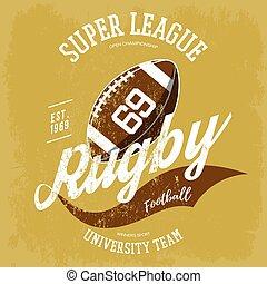 Rugby ball logo for t-shirt branding design