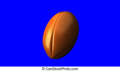 Rugby ball on blue chroma key. Loop able 3DCG render...