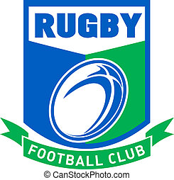 rugby ball shield football club - illustration of a rugby...