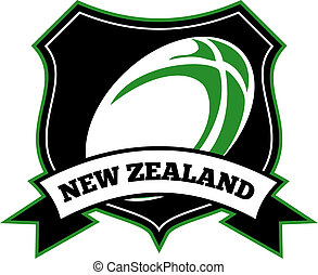 rugby ball shield new zealand - illustration of a rugby ball...