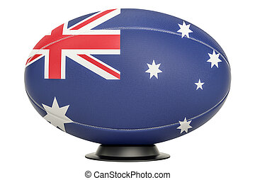 Rugby Ball with flag of Australia on the ball stand, 3D rendering