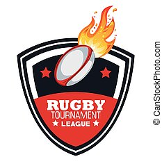 rugby ball with flames tournament emblem graphic
