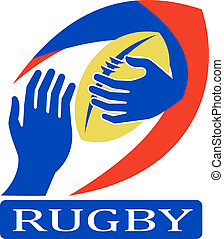 rugby ball with hand holding fending - illustration of a...