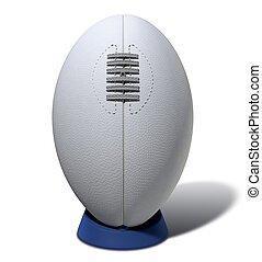 Rugby Ball With Laces On A Kicking Tee