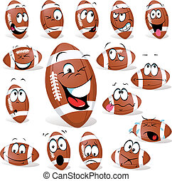 rugby ball with many expressions