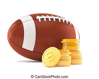 Rugby ball with stack of coins