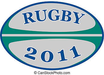rugby ball with words rugby 2011 - illustration of a rugby...
