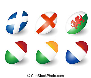 Rugby balls - Six rugby balls representing the nations of...