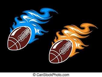 Rugby balls with colored fire flames
