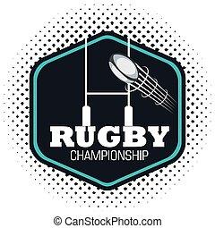 rugby, championnat, balle, voler, et, poste, but
