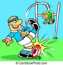 Rugby. - Cartoon rugby match
