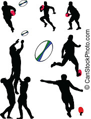 rugby, collection, -, vecteur