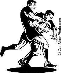 rugby, deux, joueur, affronter, aborder, vue côté
