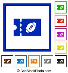 Rugby discount coupon flat framed icons - Rugby discount...