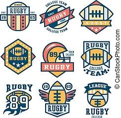 Rugby Emblem Set Vector Illustration, Flat Design