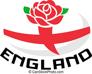 Rugby England rose flag ball - Illustration of a red English...