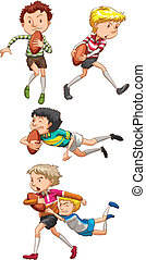 Rugby - Illustration of boys playing rugby
