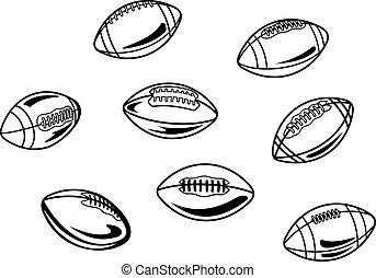 rugby, et, football américain, balles