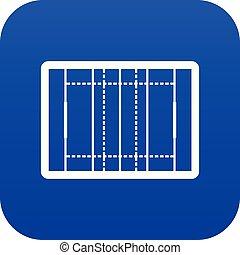 Rugby field icon digital blue