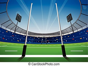 Rugby field with bright stadium. vector illustration.