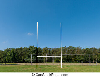 rugby field with rugby post in front