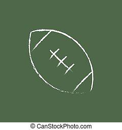 Rugby football ball icon drawn in chalk.