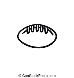 Rugby football ball sketch icon.