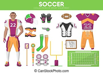 Rugby football sport equipment game player garment accessory vector icons set