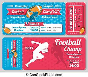 rugby, football, sports, billet, carte, vecteur, retro, conception