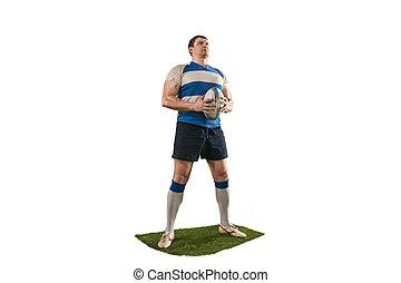 rugby, freigestellt, eins, spieler, hintergrund, silhouette, weißer kaukasier, mann