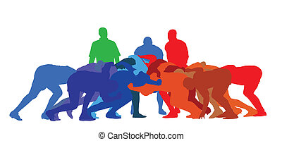 Rugby Full Scrum Isolation - Best Color Sport Silhouette...