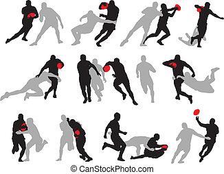 rugby, handling, grupp, ge sig sken, silhuett