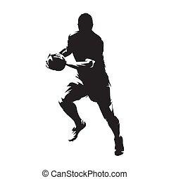 rugby hráč, běh, s, koule, osamocený, vektor, silueta,...