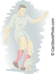 rugby játékos, rúgás labda