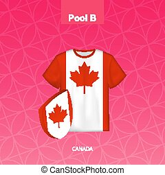 Rugby jersey of Canada team with flag of Canada.