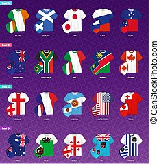 Rugby Jerseys with flag distributed by pools of rugby tournament.