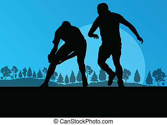 rugby, jouer, homme, silhouette, dans, campagne, nature, fond, il
