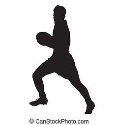 rugby, joueur, courant, vecteur,  silhouette, balle